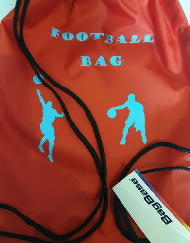 Red school/pe drawstring football logo bag